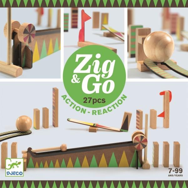 "Murmelbahn Kettenreaktionsspiel ""Zig & Go"" 27 Teile"