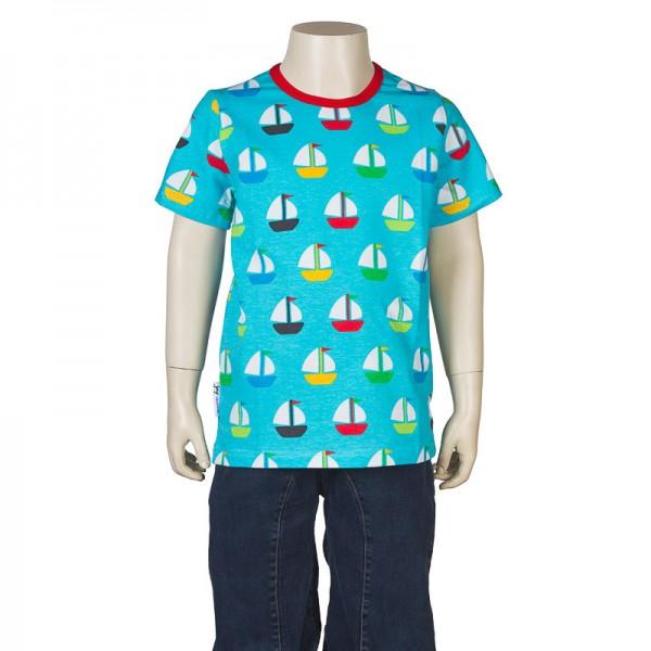 "Kurzarm-Shirt ""Segelboote"" türkis"