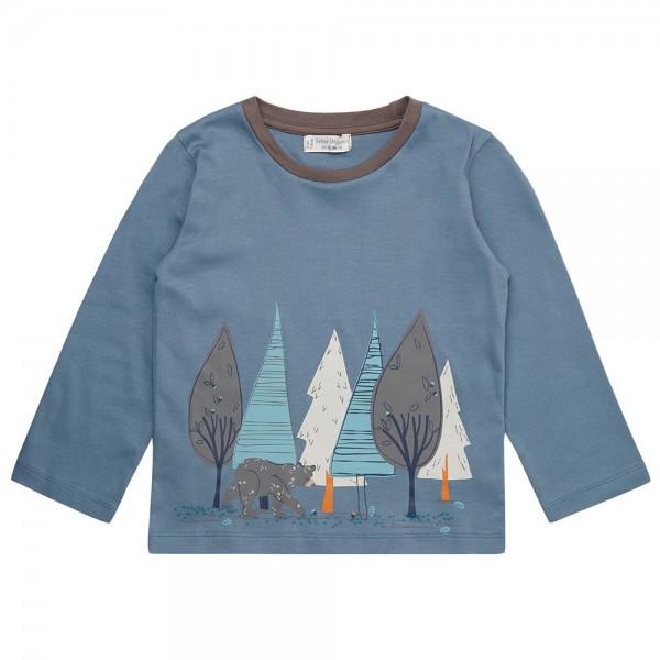 "Bio Shirt ""Print Wald & Bär"" mittelblau"