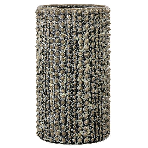 """Vase """"Noppen-Muster"""" olivgrün H 20,5 cm"""