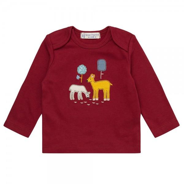 "Bio Baby-Shirt ""Applikation Rehe"" dunkelrot"