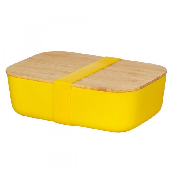Bambusfaser-Lunchbox mit Bambusdeckel gelb