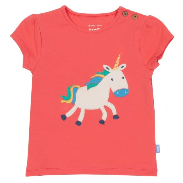 "Bio Kurzarm-Shirt ""Einhorn Applikation"" coral"