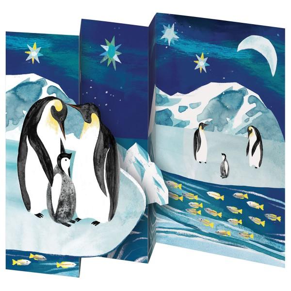 "Lose Tri-Fold-Karte ""Pinguine"" türkis"