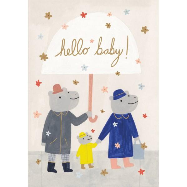 "Klappkarte ""Hello Baby - Hippo Family"" Kate Pugsley"