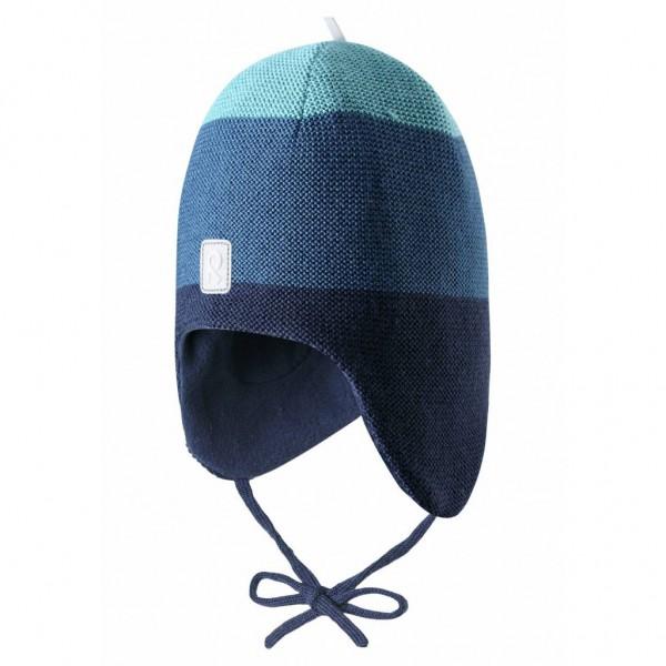 """Woll-Mütze """"Auva"""" Blockstreifen blau"""