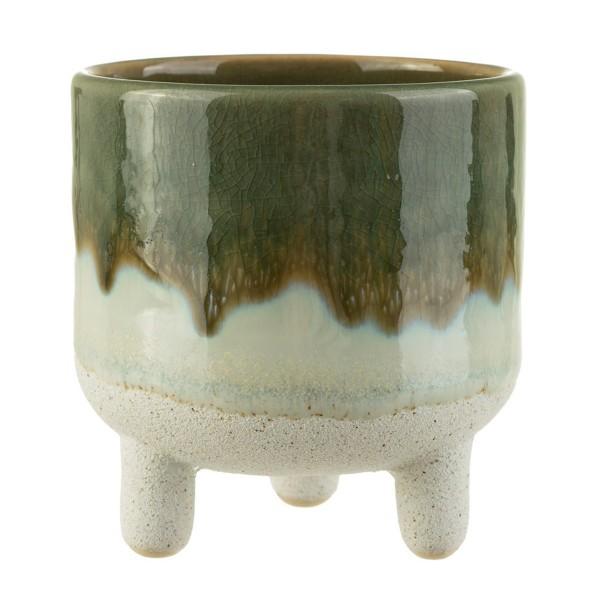 "Keramik-Übertopf mit Füßchen ""Mojave Glasur"" grün"