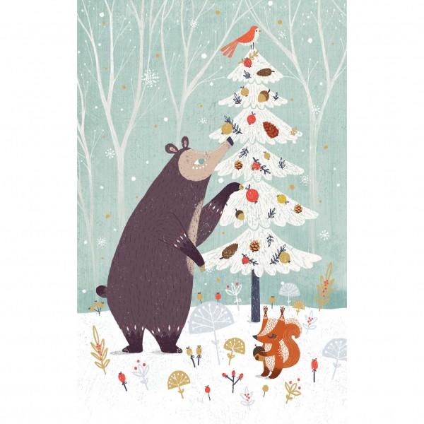 "Lose Klappkarte ""Bear Decorating Tree"""