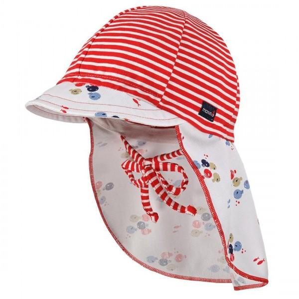 """Sommermütze mit Nackenschutz """"Streifen & Fische"""" rot"""