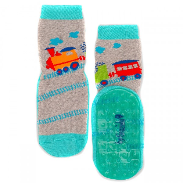 "Vollsohle-Socken byGraziela ""Dampflok"" grau"