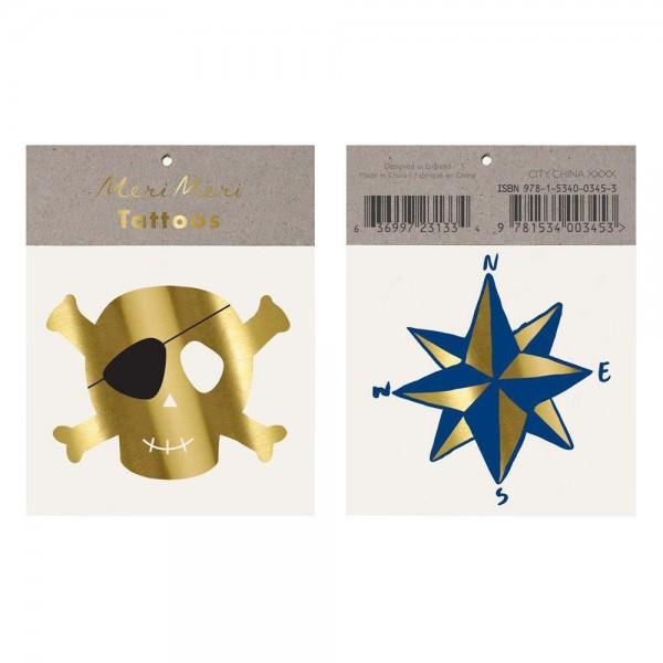 """2 Tattoos """"Skull & Kompass"""""""