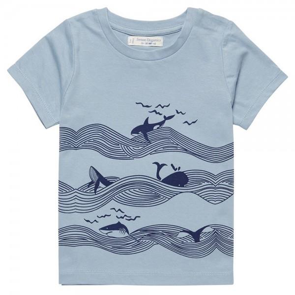 "Bio Kurzarm-Shirt ""Wellen & Wale"" hellblau"