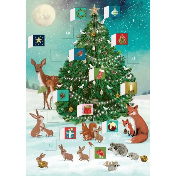 """Adventskalender-Klappkarte """"Festive Forest Tree"""""""