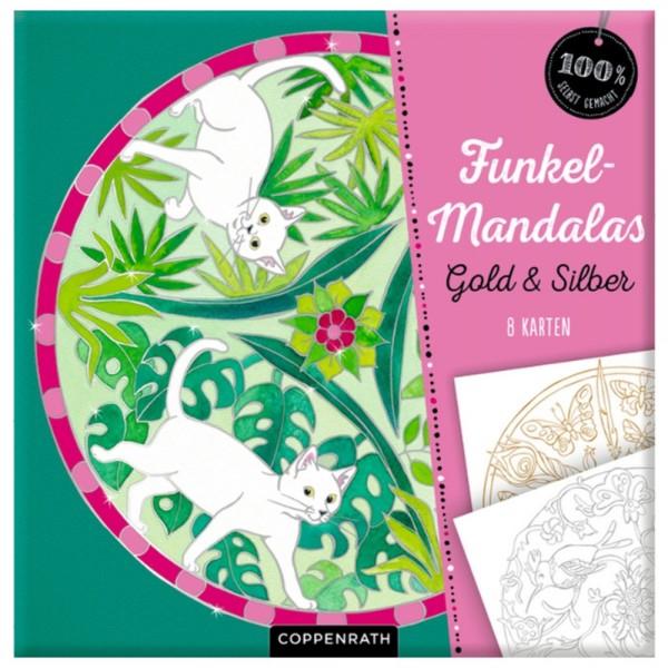 """Funkel-Mandalas """"Gold & Silber - 8 Karten"""" (100% selbst gemacht)"""