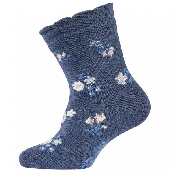 "Socken ""Blumen"" blau melange"