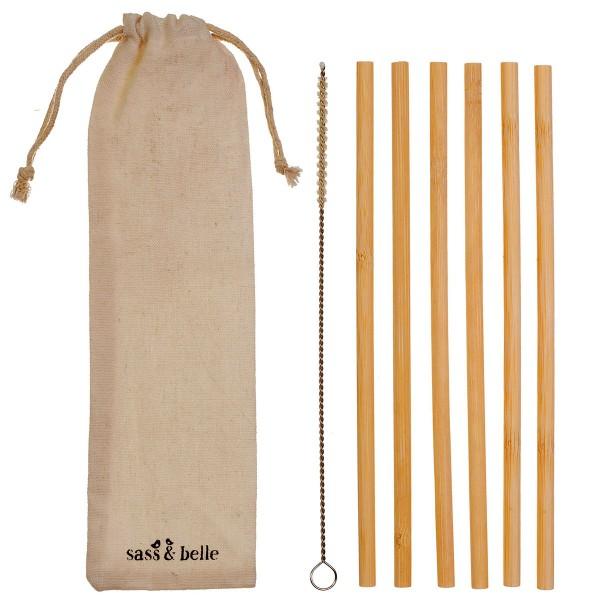 6 Bambus-Trinkhalme mit Beutel + Bürste