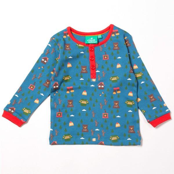 """Bio Shirt """"Nordischer Wald"""" blau"""