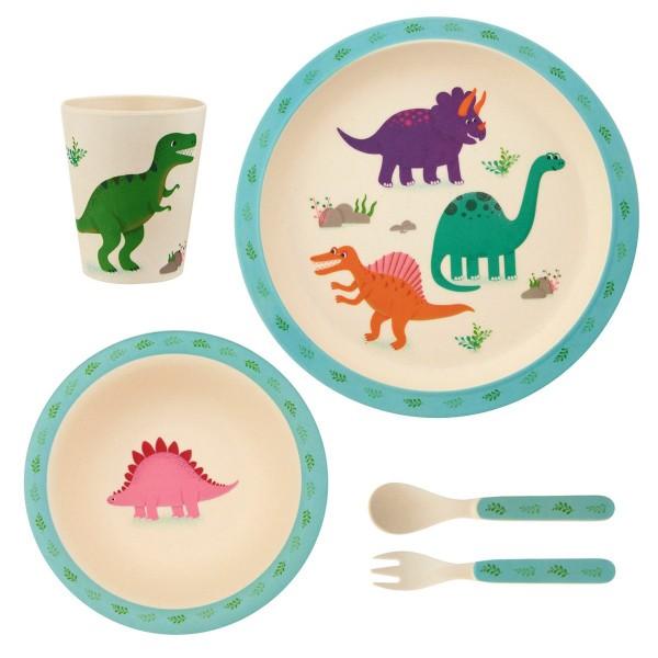 """Bambusfaser-Geschirr-Set """"Dinosaurier"""""""
