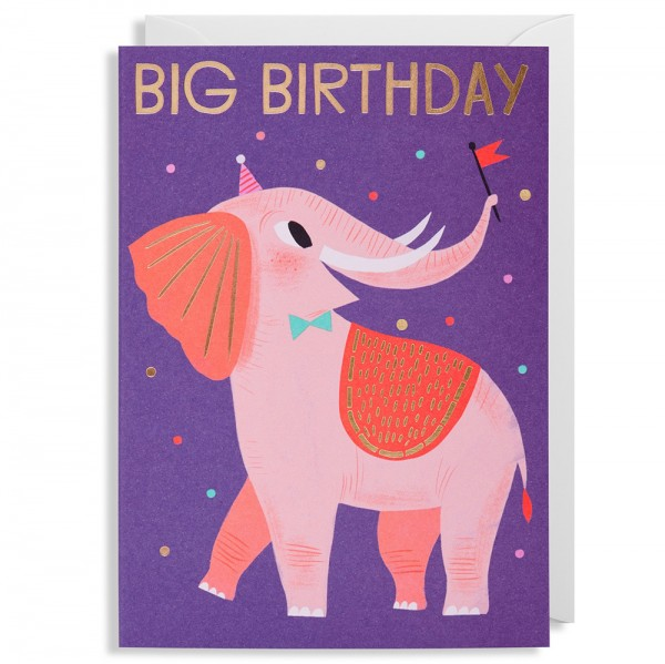 "Klappkarte Allison Black ""Big Birthday Elephant"""