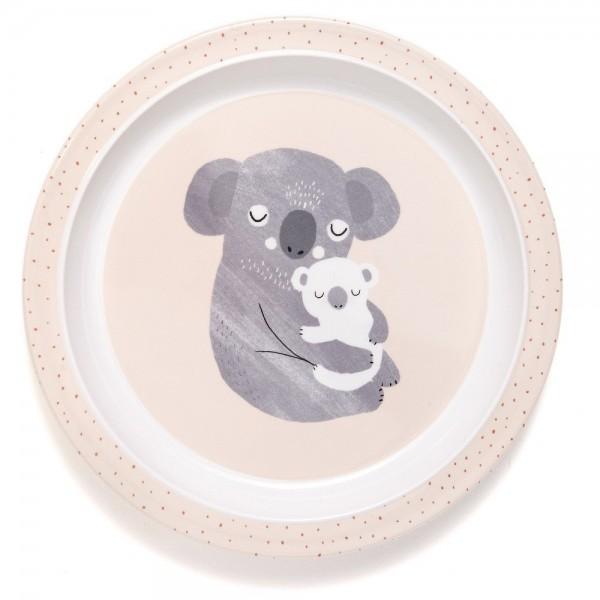 """Melamin-Teller mit Rand """"Koala"""" rosa"""