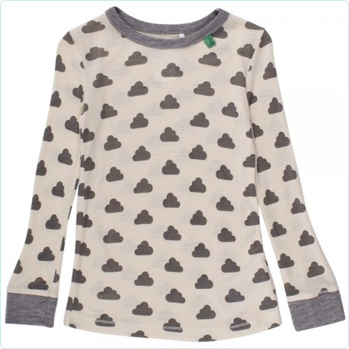 "Woll-Shirt KIDS ""Wolken"" grau/cream"