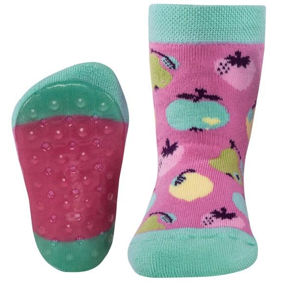 "ABS-Vollsohle-Socken byGraziela ""Früchte"" himbeer/türkis"