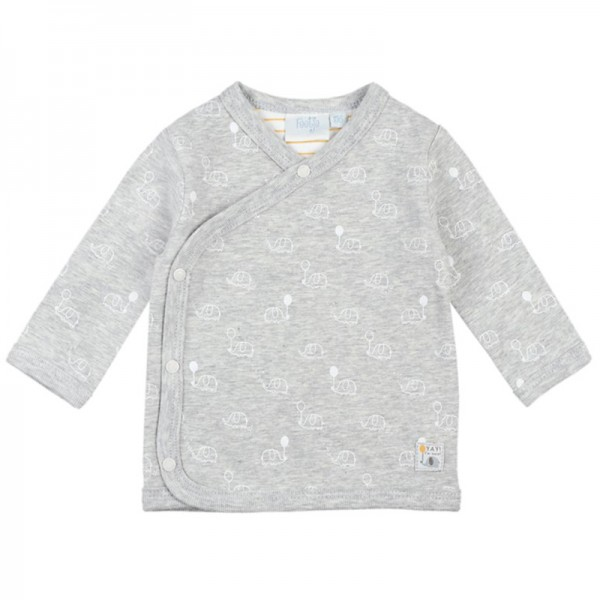 "Bio Baby-Wickel-Shirt ""Elefanten"" grau melange"