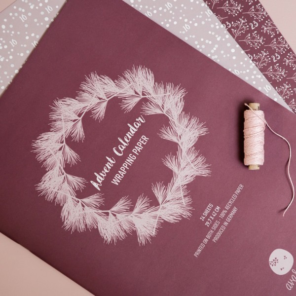 Adventskalender-Geschenkpapier A3 weinrot/grün