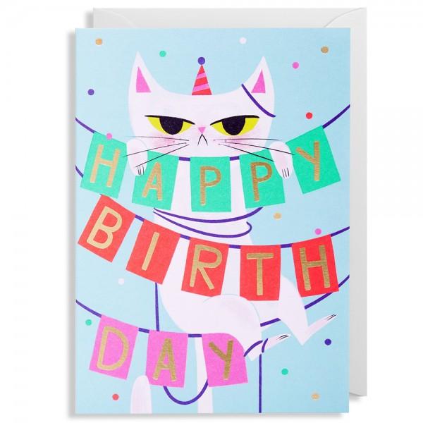 """Klappkarte Allison Black """"Birthday Banner Cat"""""""