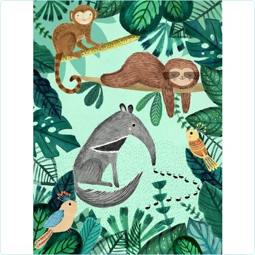 "Poster ""Ameisenbär & Faultier"" Rebecca Jones 50x70 cm"