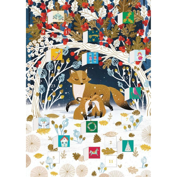 "Adventskalender-Klappkarte ""Paw Prints in the Snow"""