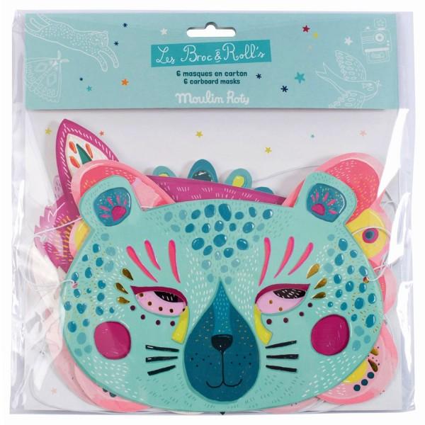 """6 Tiermasken """"für Mädchen"""" Les Broc & Rolls"""