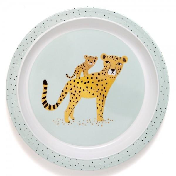 "Melamin-Teller mit Rand ""Leopard"" aqua"