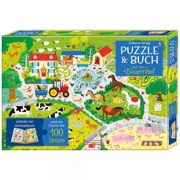 """Puzzle 100 Teile und Buch """"Auf dem Bauernhof"""""""