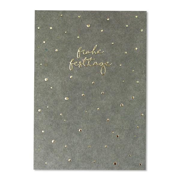 """Postkarte mit Goldfolie """"Pünktchen - Frohe Festtage"""" graublau"""