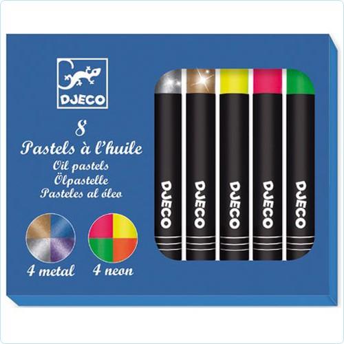 """8 Ölpastell-Stifte """"Metall & Neon"""""""