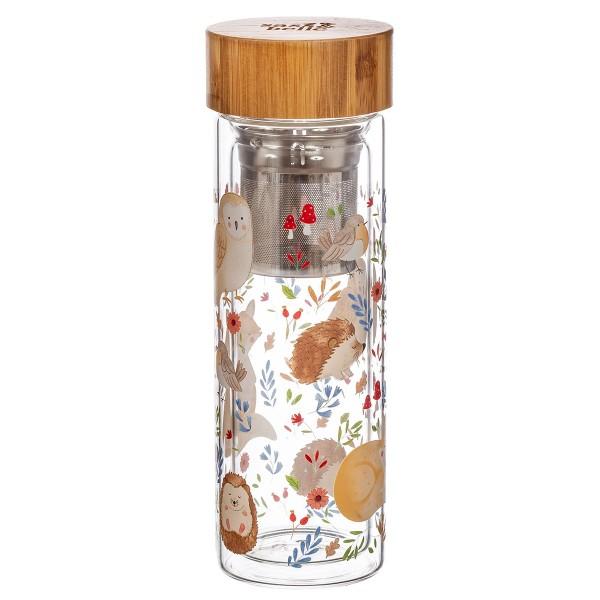 """Glas-Trinkflasche mit Infuser """"Waldtiere"""" 350 ml"""