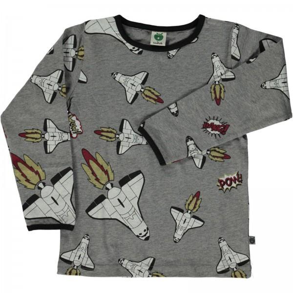 """Shirt """"Raumschiff"""" grau melange"""