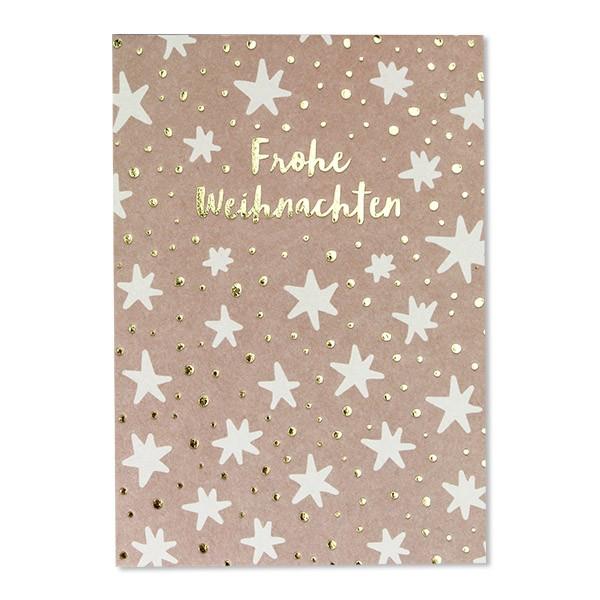 """Postkarte mit Goldfolie """"Sterne - Frohe Weihnachten"""" rosa"""