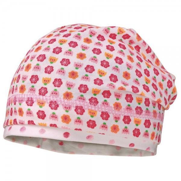 """Beanie """"Blumen"""" weiß/pink"""