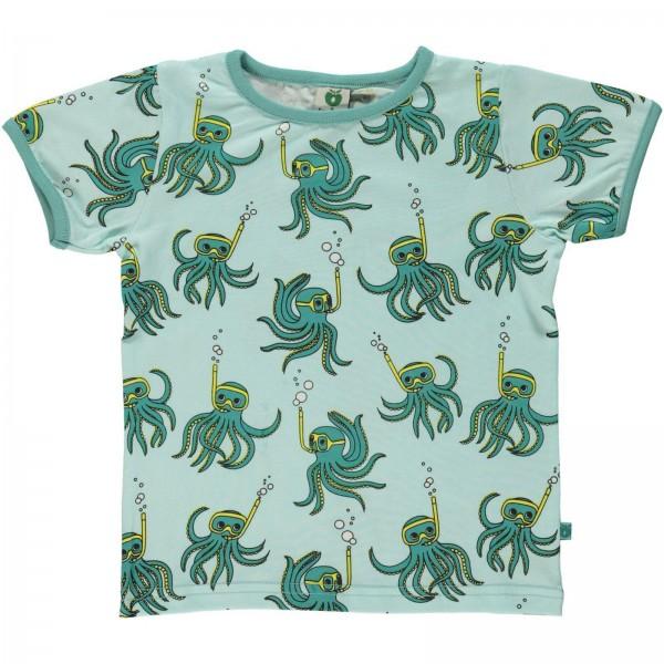 "Bio-Kurzarm-Shirt ""Oktopus"" dusty aqua"