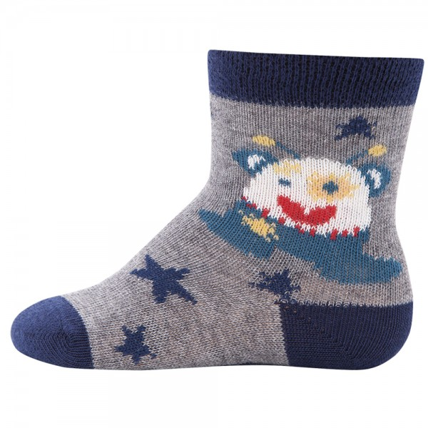 "Socken ""Monster"" grau melange"