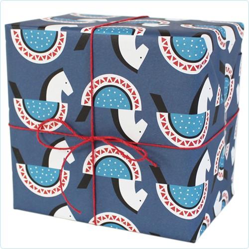 """Geschenkpapier """"Schaukelpferde"""" blau"""
