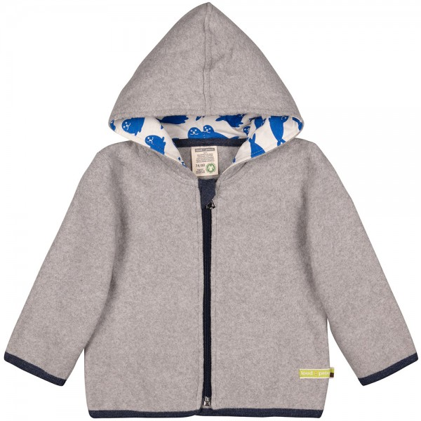 Fleece-Jacke grey (Kapuze Robben cobalt)