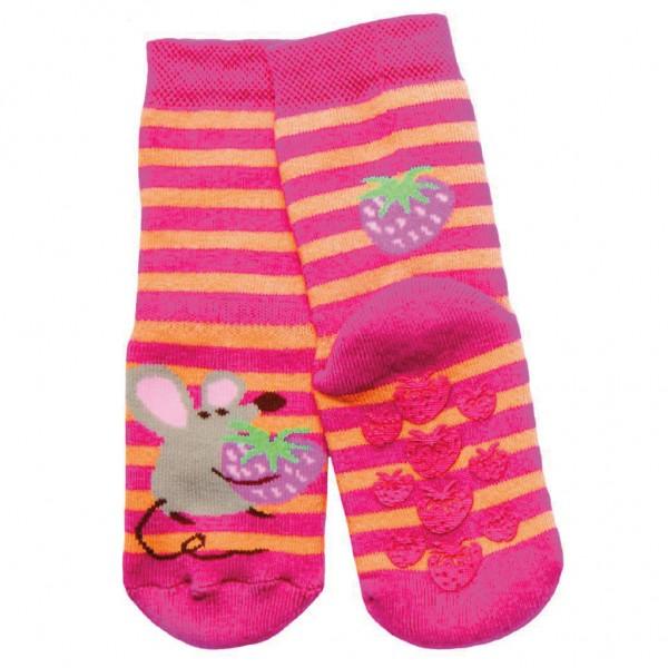 ABS-Socken Streifen/Maus fuchsia