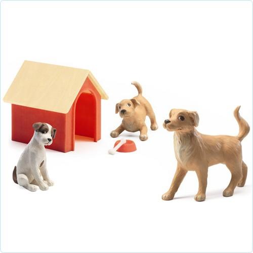 """Puppenhaus-Figuren """"Hunde mit Hundehütte"""""""