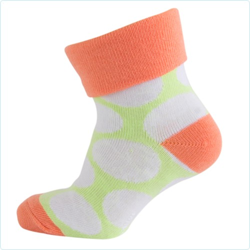 Melton Socken Punkte lila/lime