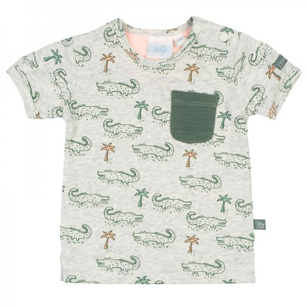 """Bio Baby-Kurzarm-Shirt """"Krokodile"""" grau melange"""