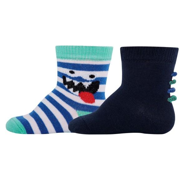 """2er-Pack Socken """"Monster & Ringel"""" tinte/blau"""