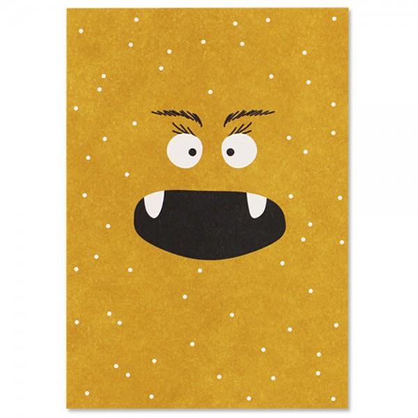 """Postkarte """"Monster Pünktchen"""" gelb"""